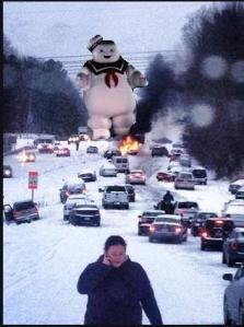 This sums it up - StayPuft, snow, and disaster. ;)