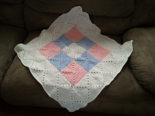 Modified pattern baby afghan.