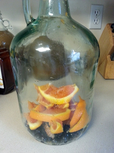 Got my raisins, blueberries and oranges in the jug.