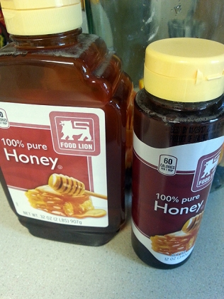 Just shy of three pounds of honey, but I had more in the cabinet.